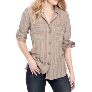 Free People Top High Tide Button Up Shirt Striped